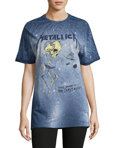 Missguided Metallica Logo Distressed T-Shirt-GREY-Small