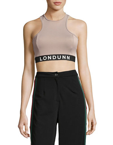 Missguided Racerback Logo Crop Top-GREY-UK 12/US 8