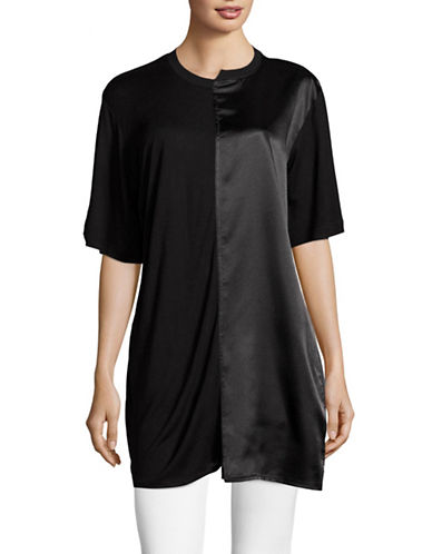 Missguided Spliced Satin and Jersey T-Shirt-BLACK-UK 10/US 6