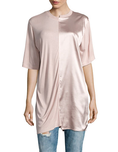 Missguided Spliced Satin and Jersey T-Shirt-PINK-UK 6/US 2