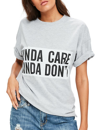 Missguided Kinda Care Kinda Dont Tee-GREY-UK 14/US 10