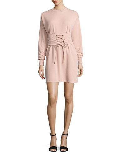Missguided Corset Belt Sweater Dress-PINK-UK 16/US 12