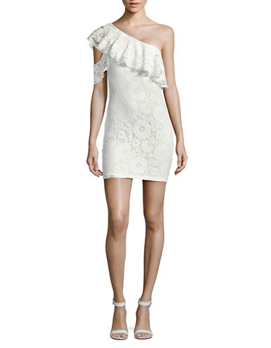 Missguided Lace One-Shoulder Mini Dress-WHITE-UK 12/US 8