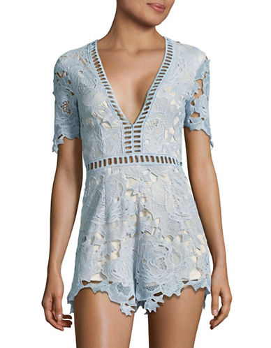 Missguided Floral Ladder Playsuit-BLUE-UK 6/US 2