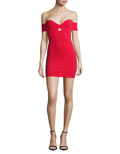 Missguided Bardot Cut-Out Bodycon Dress-RED-UK 14/US 10