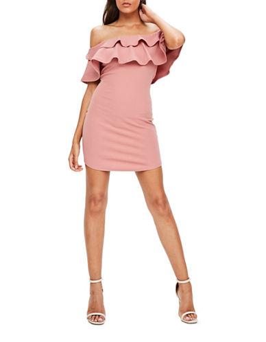 Missguided Double Ruffle Bardot Bodycon Dress-PINK-UK 10/US 6