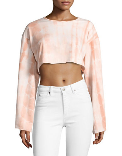 Missguided Tie-Dye Cropped Sweatshirt-WHITE-UK 16/US 12