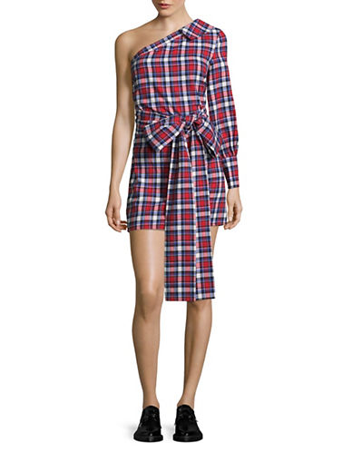 Missguided Checkered One-Shoulder Shirtdress-RED/BLUE-UK 14/US 10
