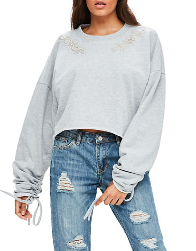 Missguided Ruched Sleeve Cropped Sweatshirt-GREY-UK 10/US 6