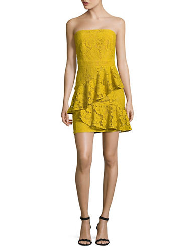 Missguided Strapless Asymmetric Ruffle Lace Dress-GOLD-UK 16/US 12