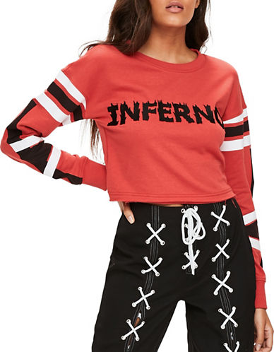 Missguided Inferno Cropped Sweatshirt-RED-UK 12/US 8