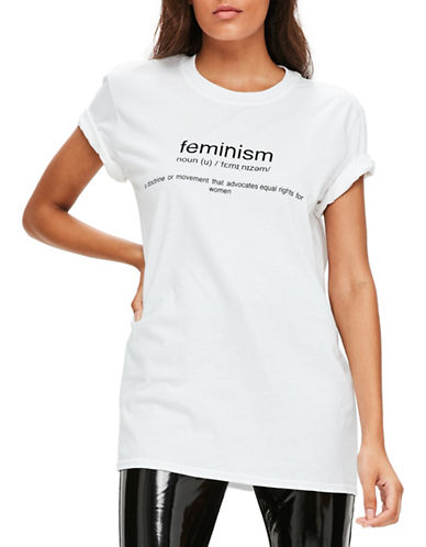 Missguided Feminism Oversized Tee-WHITE-UK 8/US 4