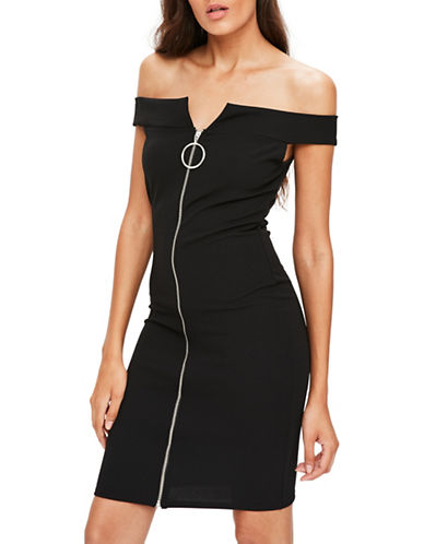 Missguided Zip Front Off-The-Shoulder Dress-BLACK-UK 8/US 4