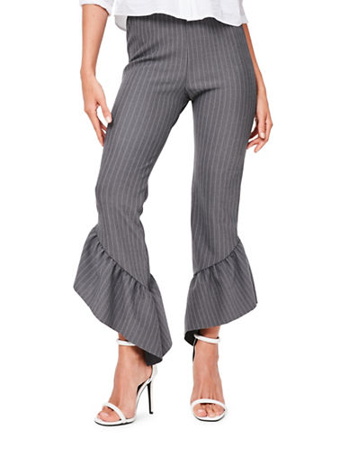 Missguided Ruffled Pinstriped Pants-GREY-UK 16/US 12