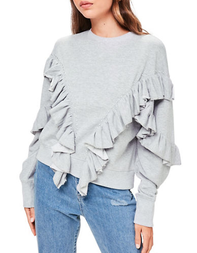 Missguided Ruffle Sweater-GREY-UK 16/US 12