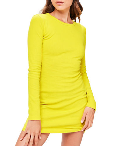 Missguided Cut-Out Back Bodycon Dress-YELLOW-UK 14/US 10