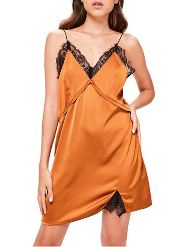 Missguided Lace Detail Chemise-COPPER-UK 8/US 4
