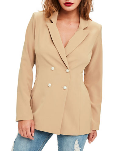 Missguided Tobacco Double-Breasted Blazer-BROWN-UK 6/US 2