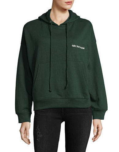 Missguided Cute but Brutal Oversized Hoodie-GREEN-UK 6/US 2