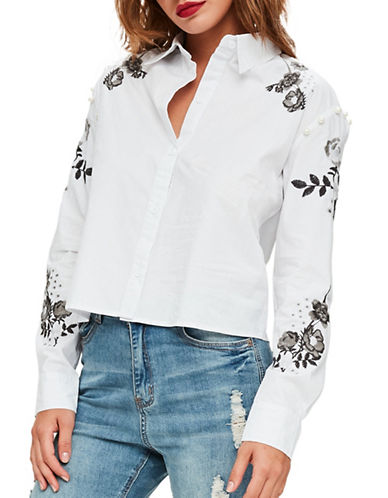 Missguided Embroidered Pearl Detail Shirt-WHITE-UK 10/US 6