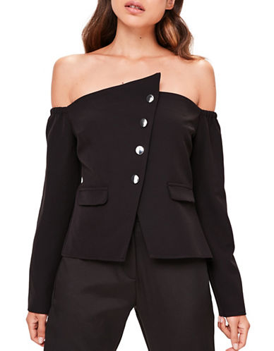 Missguided Bardot Button Down Top Black-BLACK-UK 12/US 8