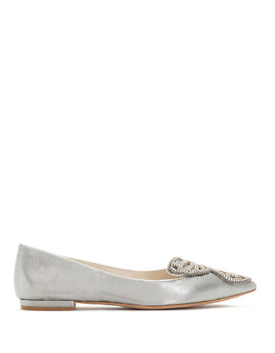 Sophia Webster Bibi Embroidered Butterfly Metallic Flats-SILVER-EUR 41/US 11