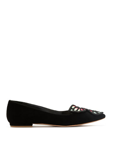 Sophia Webster Bibi Butterfly Suede Leather Flats-BLACK-EUR 38.5/US 8.5