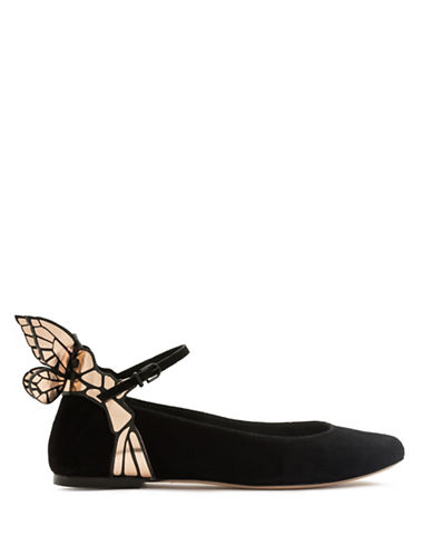 Sophia Webster Chiara Suede Ballet Flats-BLACK-EUR 41/US 11
