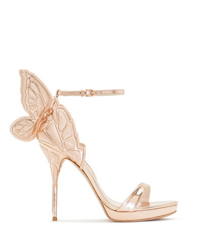 Sophia Webster Butterfly Wing Metallic Leather Sandals-ROSE GOLD-EUR 35/US 5