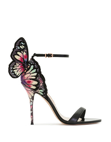 Sophia Webster Chiara 3D Butterfly Wing Embroidery Sandals-BLACK MULTI-EUR 36.5/US 6.5