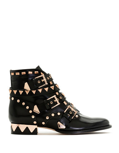 Sophia Webster Leather Rose-Goldtone Ankle Boots-BLACK-EUR 36/US 6