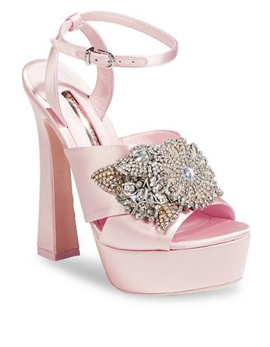 Sophia Webster Embellished Peep-Toe Platform Heels-PINK-EUR 39/US 9