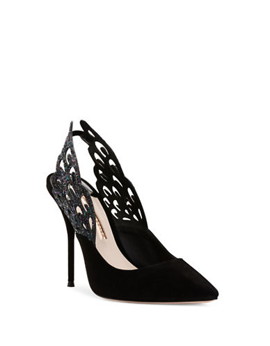Sophia Webster Angelo Suede Slingback Pumps-BLACK-EUR 37.5/US 7.5