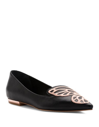 Sophia Webster Bibi Butterfly Leather Ballet Flats-BLACK-EUR 37.5/US 7.5