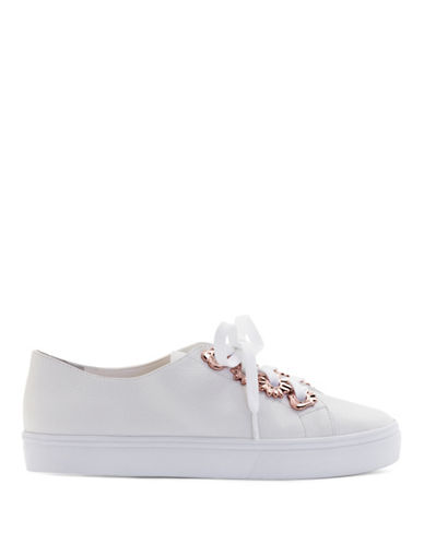 Sophia Webster Penny Flower Leather Low-Top Sneakers-WHITE-EUR 35/US 5