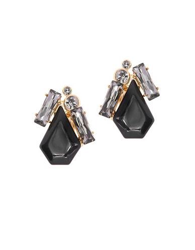 Ted Baker London Patiaa Swarovski Crystal Pentadrop Stone Clip Earrings-BLACK-One Size