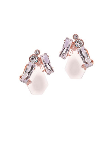 Ted Baker London Patiaa Swarovski Crystal Pentadrop Stone Clip Earrings-WHITE-One Size