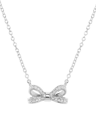 Ted Baker London Olessi Swarovski Crystal Opulent Pave Bow Pendant Necklace-SILVER-One Size