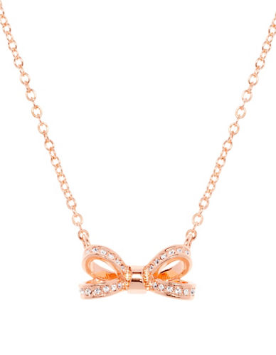 Ted Baker London Olessi Swarovski Crystal Opulent Pave Bow Pendant Necklace-ROSE GOLD-One Size