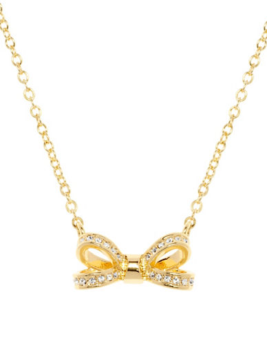Ted Baker London Olessi Swarovski Crystal Opulent Pave Bow Pendant Necklace-GOLD-One Size