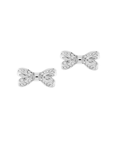 Ted Baker London Olitta Swarovski Crystal Opulent Pave Bow Stud Earrings-SILVER-One Size
