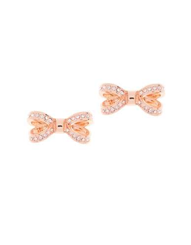 Ted Baker London Olitta Swarovski Crystal Opulent Pave Bow Stud Earrings-ROSE GOLD-One Size