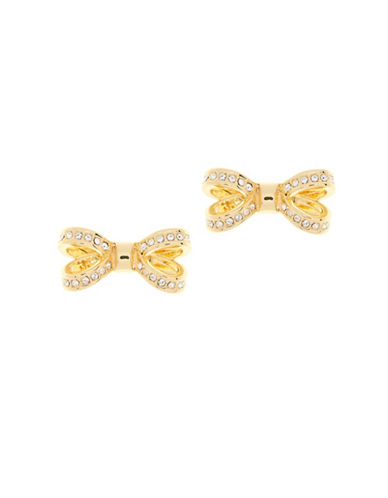 Ted Baker London Olitta Swarovski Crystal Opulent Pave Bow Stud Earrings-GOLD-One Size