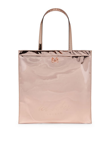 Ted Baker London Logo Patent Tote Bag-ROSE GOLD-One Size
