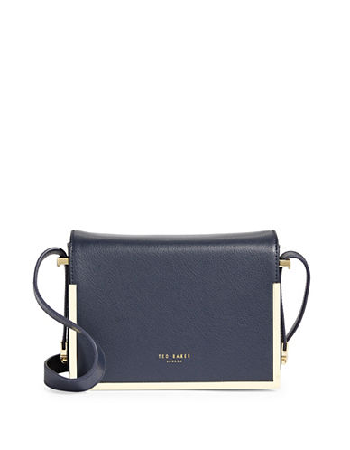 Ted Baker London Flap Leather Crossbody Bag-DARK BLUE-One Size