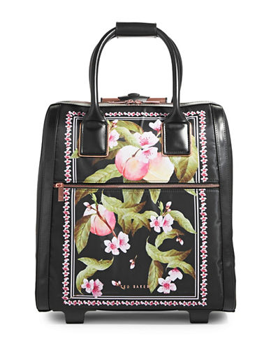 Ted Baker London Floral 15 Inch Rolling Case-BLACK-One Size