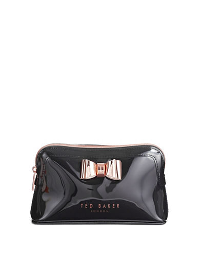 Ted Baker London Metallic Bow Cosmetic Pouch-BLACK-One Size