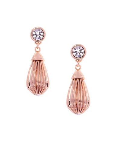 Ted Baker London Parisi Plisse Drop Preciosa Crystal Earrings-ROSE GOLD-One Size