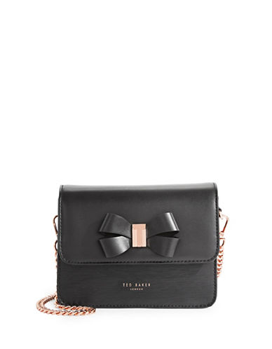 Ted Baker London Core Bow Leather Crossbody Bag-BLACK-One Size