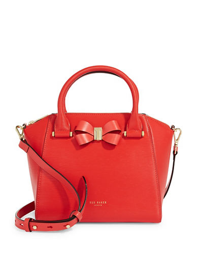 Ted Baker London Core Bow Leather Crossbody Bag-RED-One Size